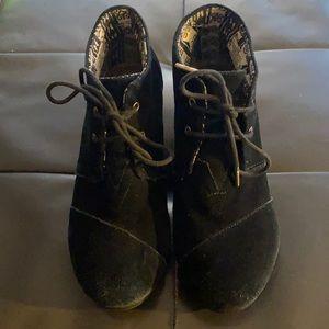 Black Suede Tom Lace Up Wedge Heels